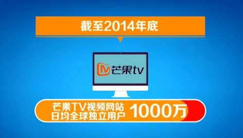 芒果TV视频网站日均全球独立用户1000万